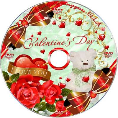 Set on the day of St. Valentine - Blowing on the disc and DVD cover template -I'll tell you about love
