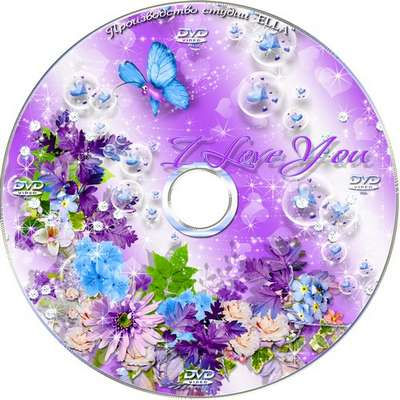 Romantic Valentine's Day set - blowing and DVD cover template - Lilac Love