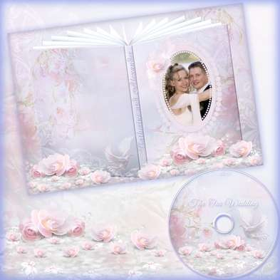DVD cover template and Blowing on the disc - Our wedding - Pastel Pink