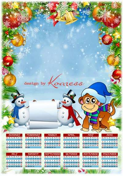 Free Christmas calendar with a photo frame for the photo design - monkey, snowmen and Christmas decorations