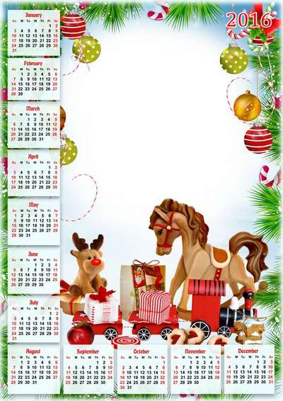 free calendar photo frame png for 2016 merry christmas and happy