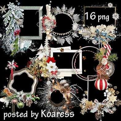 Free Clipart png for photo design - Christmas frames clusters png ( 16 frames png )