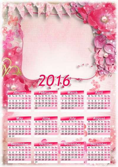 2016 Calendar Template Psd Png With Flowers Calendar For Photoshop