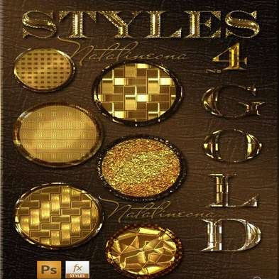 Gold bright styles for Photoshop 4