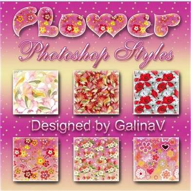 6 Photoshop Styles - Flowery Patterns