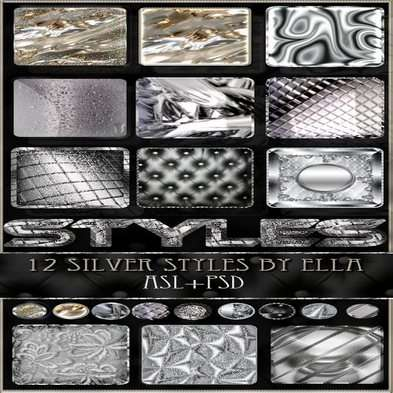 12 silver texture photoshop styles for your creativity in Photoshop by ELLA.Part 2