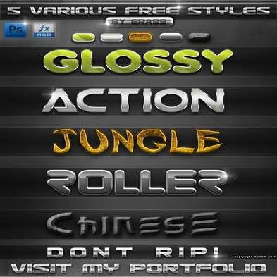 5 Various PS Photoshop Styles