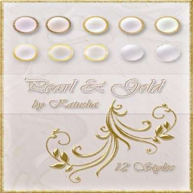 Photoshop styles - Pearl and Gold