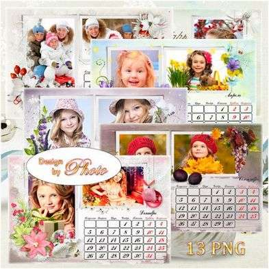 Flip 2016 calendar png with frame png for photo - with flowers, birds, nature