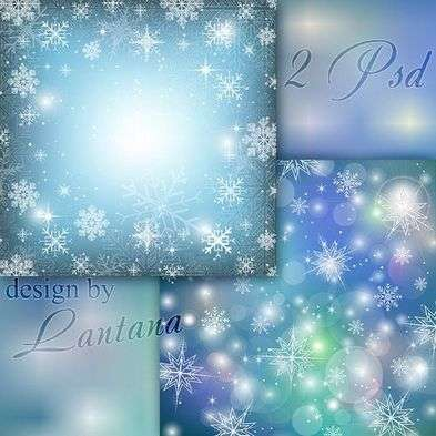 Multilayer psd backgrounds photoshop -  snowflakes