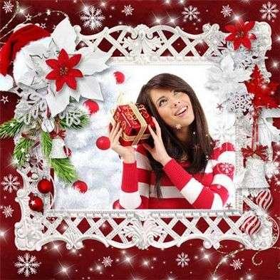 Girl photo frame psd – white snowflake