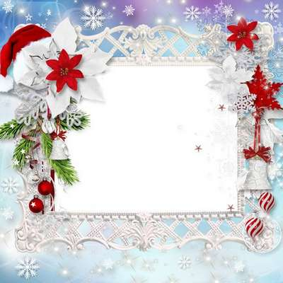 Girl frame psd – white snowflake