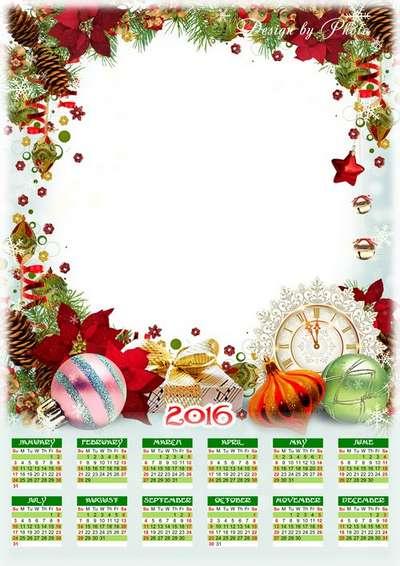 2016 calendar psd template (multilingual) with frame - Christmas clock, Christmas toys