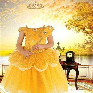 PSD Template for Photoshop girls - little Princess dress and crown