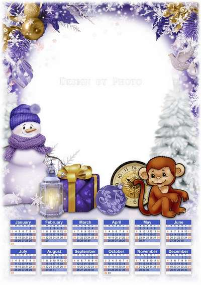 2016 calendar template with frame photoshop - snowman, monkey, Christmas gifts