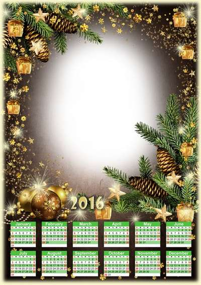Free 2016 calendar template png - christmas holidays