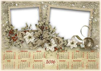 Free 2016 Christmas calendar png template photoshop with frame