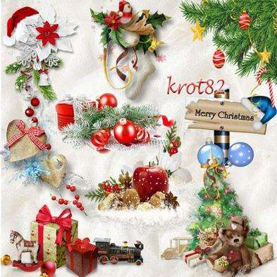 Christmas graphics png clusters - Christmas gifts, toys, other items png