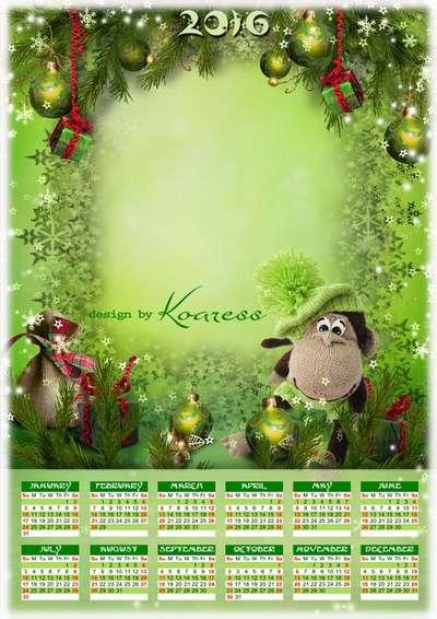 Free 2016 calendar psd template Cristmas funny monkey - English, Spanish