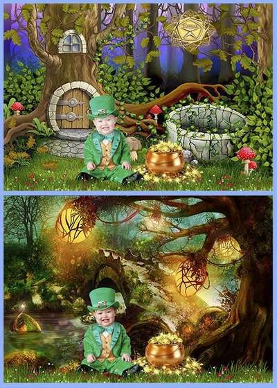 Children's psd template photoshop for boy - a pot of gold