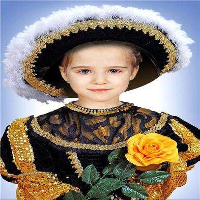 Photoshop template for girls - a hat and a rose in his hand