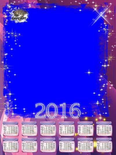 2016 - 2017 Calendar template grids English with the option to insert photo