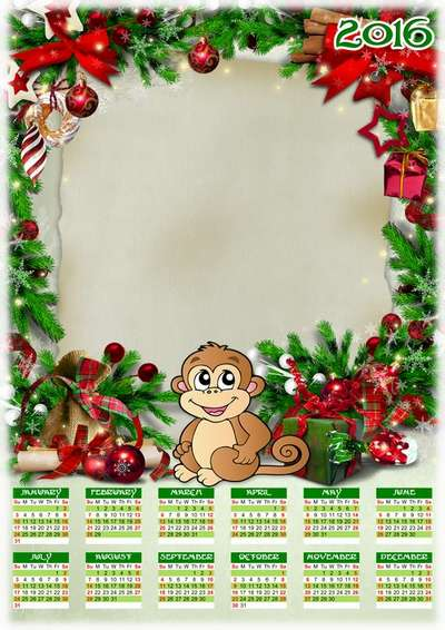 Free 2016 Cristmas calendar template psd with frame - English, Russian