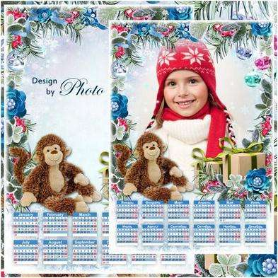 Free 2016 photoshop calendar template with frame for photo - Merry Christmas
