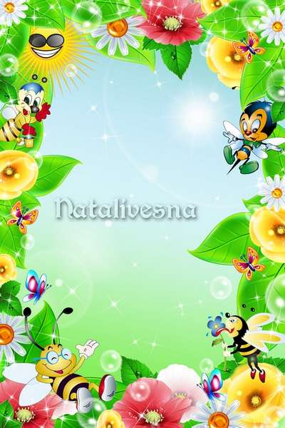 Flower children's frame psd template – Have gathered all on a lawn - bees, butterflies, flowers …