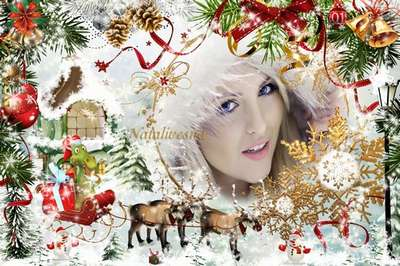 Cristmas frame psd template – Year of the Dragon to us goes, it to us carries gifts…