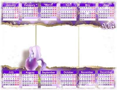 2016 calendar png + calendar template psd can insert photo - Purple romance