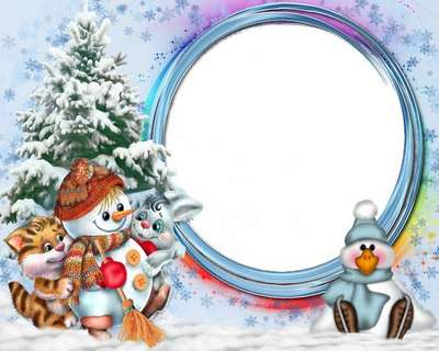 Free baby frame psd template with a Christmas snowman and Christmas tree