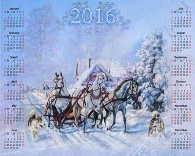 Free 2016 Winter calendar template psd - Winter landscape
