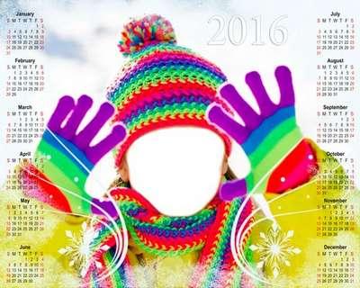 2016 Free baby calendar template psd - Winter patterns