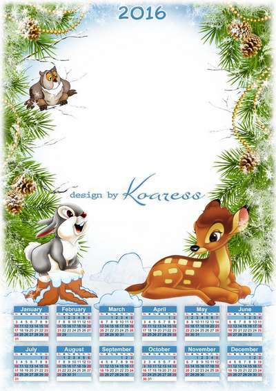 2016 baby calendar template with photo frame psd - New Year with cartoon animals