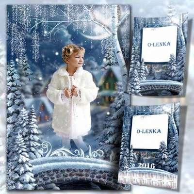 2016 calendar-frame template psd - Christmas forest