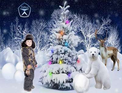 Free baby boy psd template photoshop with bear, deer and Christmas tree