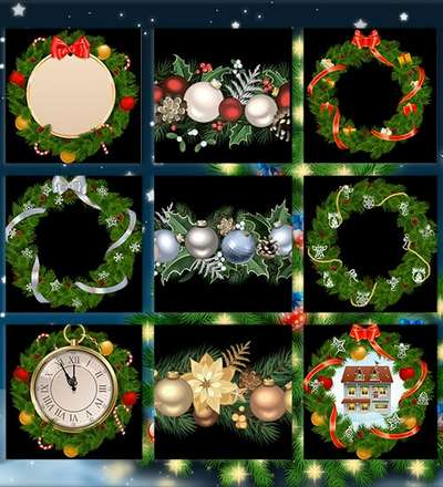 Christmas graphics png garlands and wreaths