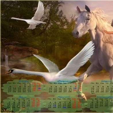 Widescreen calendar psd template for 2014 - Girl on a horse near the Swan Lake