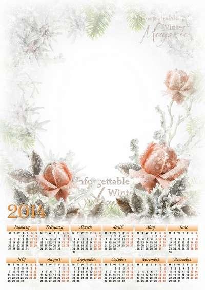 Calendar-photoframe template psd + Calendar png for 2014 - Winter roses