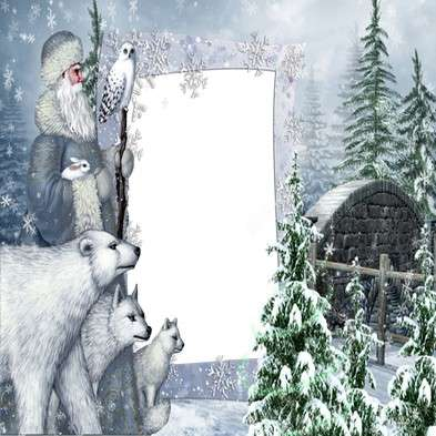 Winter Collage frame psd + photo frame png template for Photoshop