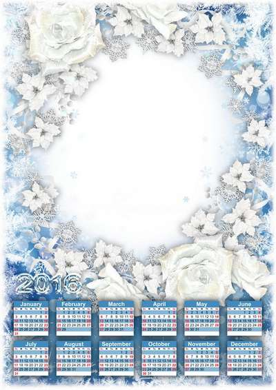 Free 2016 Calendar psd template with photoframe snow and roses - Free download