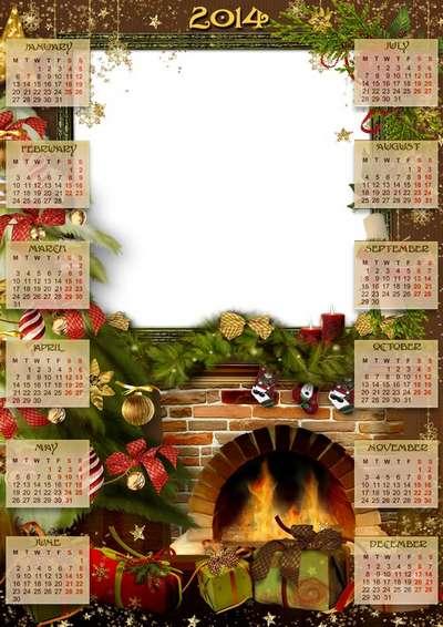 Calendar-photoframe psd + png template - Evening by the fireplace