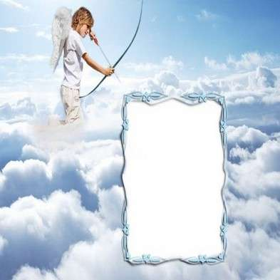 Girl frame psd for photoshop - Cupid in the clouds