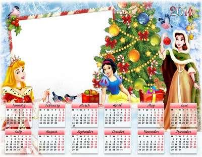 Photoshop children calendar-photoframe psd + png template 2014 - Beautiful princesses
