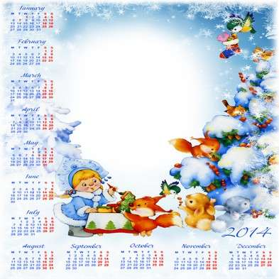 Children winter calendar with photoframe template psd + png - New year comes in forest