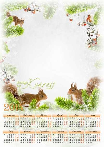 Set of calendar-photoframe template psd and greeting frame psd - Furry squirrels