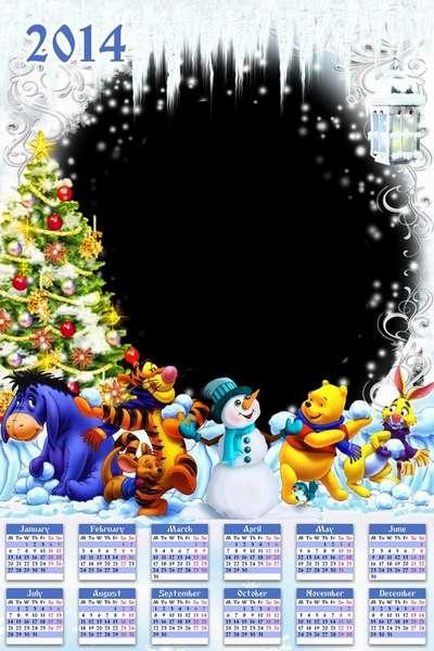Childrens calendar - frame psd  template 2014, Winnie the Pooh and friends