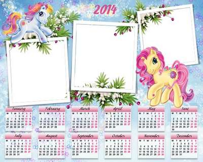 Childrens Calendar with photoframe psd + png template  for Year of the Horse - Funny Horse
