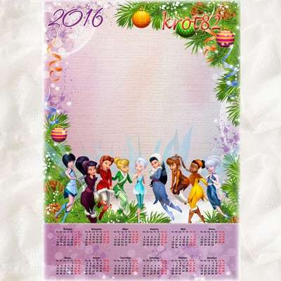 Children's New Year Calendar PSD 2016 - Fairies in the woods